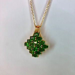 Russian Diopside Cluster Pendant w/Chain